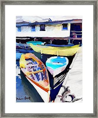 Dory Dock At Beacon Marine Basin - East Gloucester, Ma Framed Print