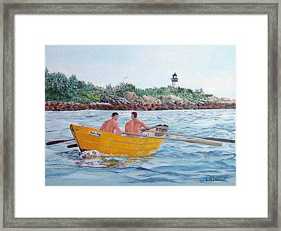 Dory Off Ten Pound Island Framed Print by Laurence Dahlmer