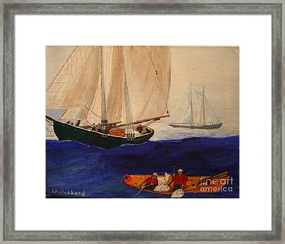 Dory Trawlers On Georges Bank Framed Print by Bill Hubbard