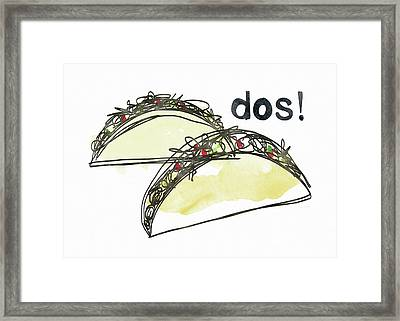 Dos Tacos- Art By Linda Woods Framed Print by Linda Woods