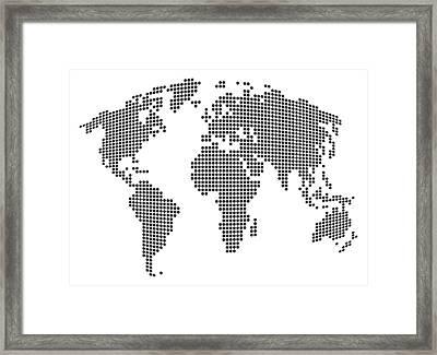 Dot Map Of The World - Black And White Framed Print