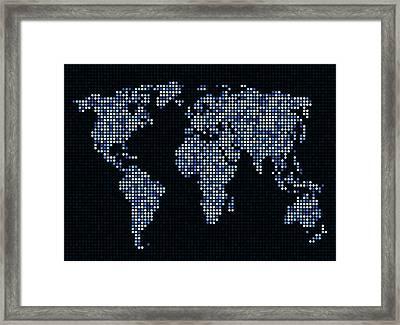 Dot Map Of The World - Blue Framed Print by Michael Tompsett
