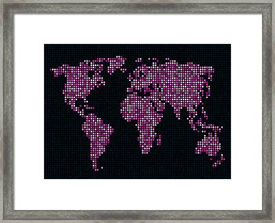 Dot Map Of The World - Pink Framed Print by Michael Tompsett