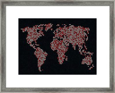Dot Map Of The World - Red Framed Print by Michael Tompsett
