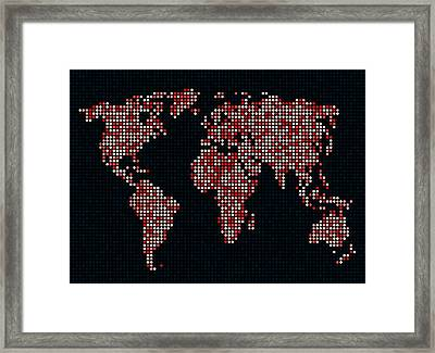 Dot Map Of The World - Red Framed Print