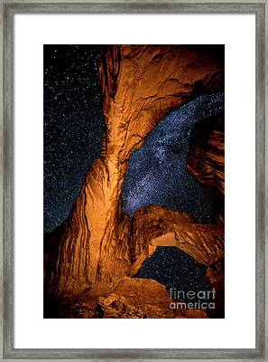 Double Arch And The Milky Way - Utah Framed Print