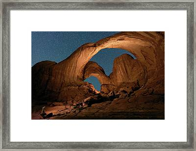 Double Arch And The Milky Way - Arches National Park - Moab, Utah. Framed Print