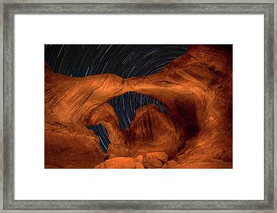 Double Arch Star Trails Framed Print by Adam Romanowicz