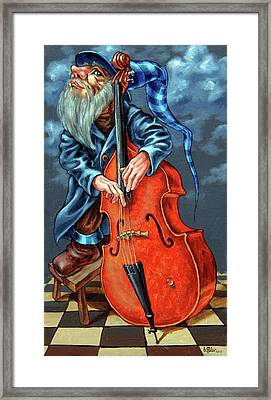 Double Bass And Bench Framed Print