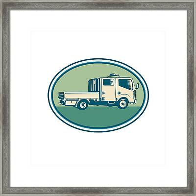 Double Cab Pick-up Truck Oval Woodcut Framed Print by Aloysius Patrimonio