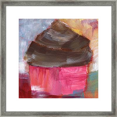 Double Chocolate Cupcake- Art By Linda Woods Framed Print by Linda Woods