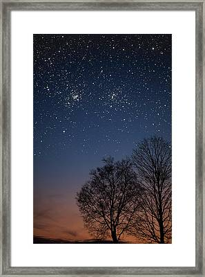 Framed Print featuring the photograph Double Cluster Sunset by Charles Warren