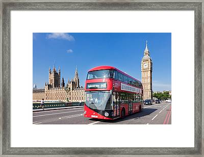 Double-decker Bus Moving On Westminster Framed Print by Panoramic Images