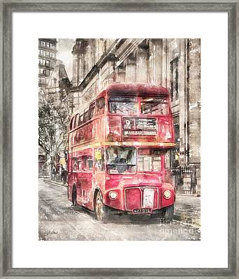 Double-decker Red Bus Of London Framed Print by Shirley Stalter
