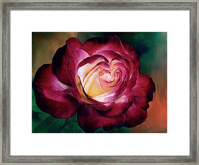 Double Delight A Rose With A Heart Framed Print