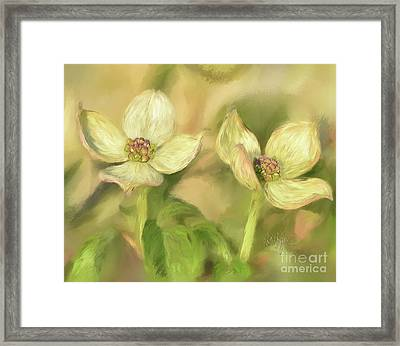 Framed Print featuring the digital art Double Dogwood Blossoms In Evening Light by Lois Bryan