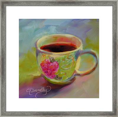 Framed Print featuring the painting Double Espresso, Please by Chris Brandley
