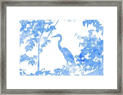 Double Exposure Of Blue Heron Framed Print