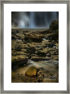 Double Falls Soft Light Framed Print