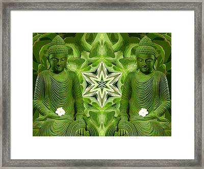 Double Green Buddhas Framed Print