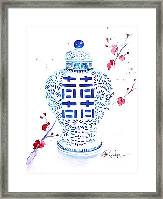Double Happiness Jar Framed Print by Andrea Realpe