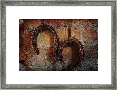 Double Horseshoes Framed Print by Toni Hopper