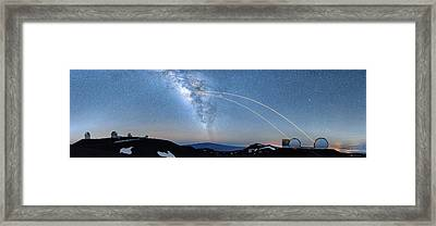 Double Lasers With The Milky Way Panorama Framed Print