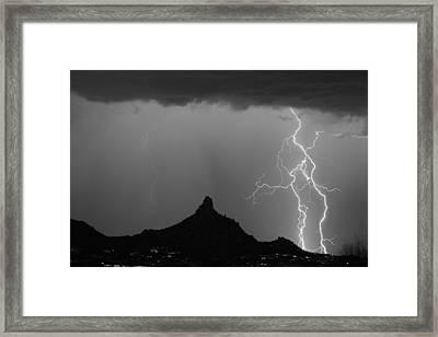 Double Lightning Pinnacle Peak Bw Fine Art Print Framed Print