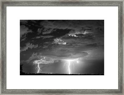 Double Lightning Strikes In Black And White Framed Print