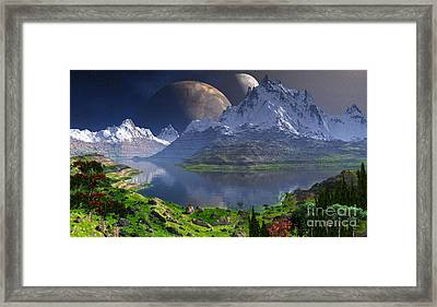 Double Moon Over The Rockies  Framed Print by Heinz G Mielke