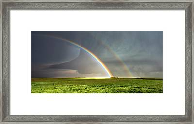 Double Rainbow And Tornado Framed Print