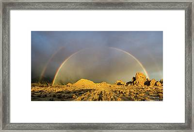 Double Rainbow Gold Framed Print