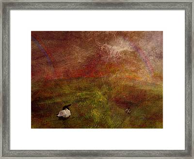 Framed Print featuring the digital art Double Rainbow by Jean Moore