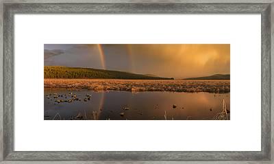 Double Rainbow Light Framed Print by Leland D Howard