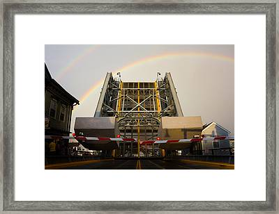 Double Rainbow Mystic Drawbridge Framed Print