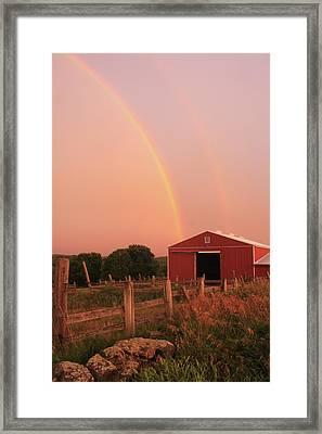 Double Rainbow Over Red Barn Framed Print by John Burk