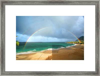 Double Rainbow Over Turtle Beach Framed Print