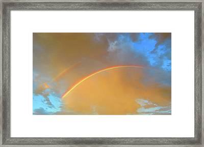 Double Rainbows In The Desert Framed Print