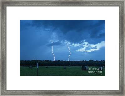 Double Trouble Dusk Thunderstorm Lightning Weather Art Framed Print