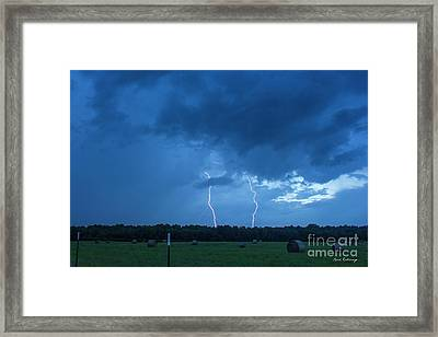 Double Trouble Too Dusk Thunderstorm Lightning Weather Art Framed Print