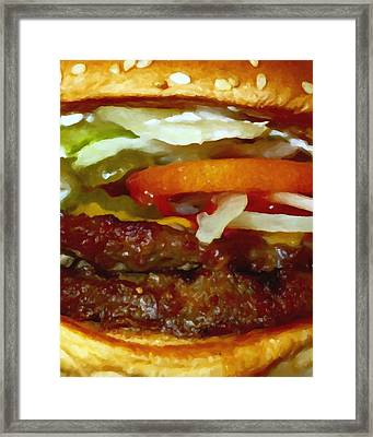 Double Whopper With Cheese And The Works - Painterly Framed Print by Wingsdomain Art and Photography