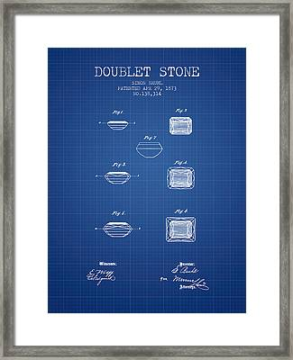 Doublet Stone Patent From 1873 - Blueprint Framed Print