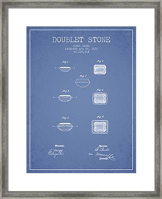 Doublet Stone Patent From 1873 - Light Blue Framed Print by Aged Pixel