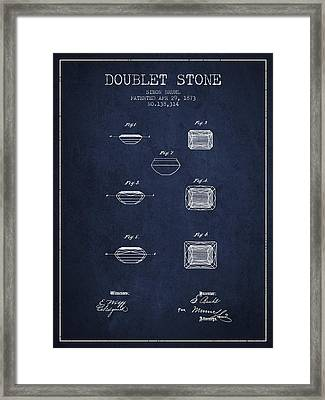 Doublet Stone Patent From 1873 - Navy Blue Framed Print