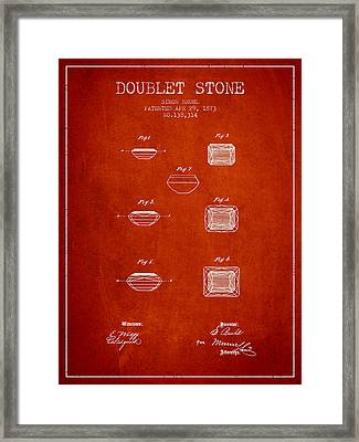 Doublet Stone Patent From 1873 - Red Framed Print