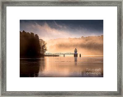 Doubling Point Lighthouse In The Mist Framed Print