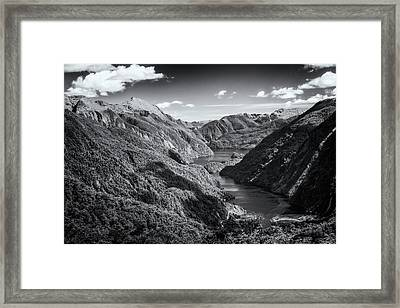 Doubtful Sound New Zealand From Wilmot Pass Bw Framed Print by Joan Carroll