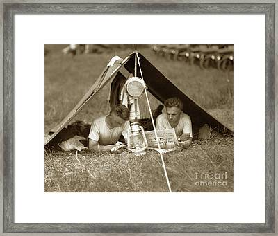 Doughboys In Pup Tent 1918 Framed Print by California Views Mr Pat Hathaway Archives