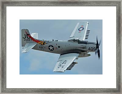 Douglas A-1d Skyraider Nx409z Chino California April 30 2016 Framed Print by Brian Lockett