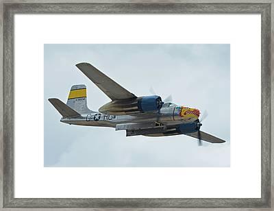 Framed Print featuring the photograph Douglas A-26b Invader Nl99420 Silver Dragon Chino California April 30 2016 by Brian Lockett